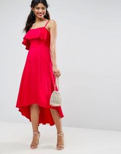Мягкое платье миди для выпускного с оборкой ASOS - Красный