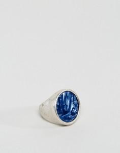 Серебристое кольцо-печатка с синим камнем ASOS - Серебряный