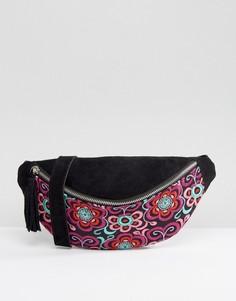 Замшевая сумка-кошелек на пояс с вышивкой Park Lane - Черный