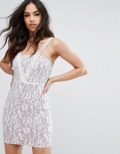 Кружевное платье мини PrettyLittleThing - Бежевый