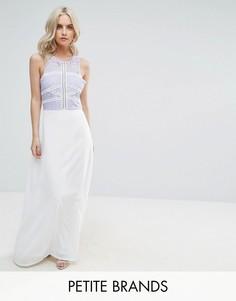 Платье макси с кружевным лифом Boohoo Petite - Белый