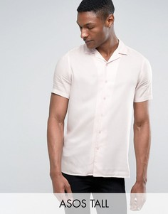 Свободная розовая рубашка из вискозы с отложным воротником ASOS TALL - Розовый