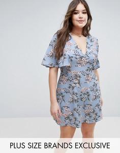 Чайное платье с цветочным принтом Boohoo Plus - Синий