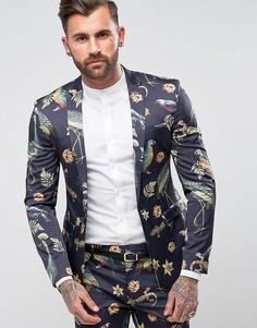 Супероблегающий пиджак с принтом птиц ASOS - Темно-синий