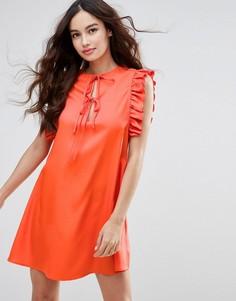 Платье с рукавами-оборками Fashion Union - Красный