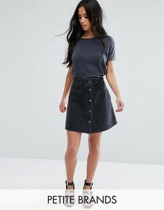 Джинсовая юбка на пуговицах Noisy May Petite - Черный