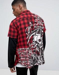 Свободная фланелевая рубашка в клетку Granted - Красный