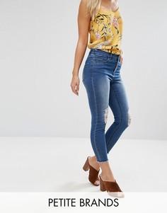 Зауженные джинсы с необработанными краями New Look Petite - Синий