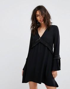 Свободное платье с бахромой PrettyLittleThing - Черный