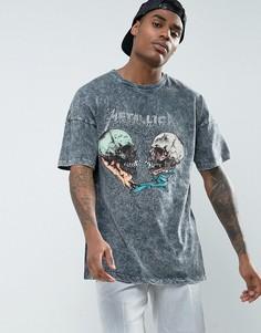 Свободная футболка с принтом Metallica и эффектом кислотной стирки ASOS - Черный