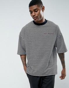 Велюровая oversize-футболка в полоску с вышивкой ASOS - Темно-синий