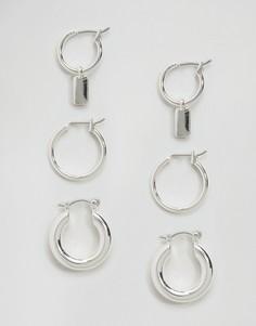 Набор из 3 серег-колец ASOS - Серебряный