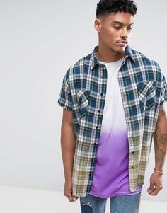 Клетчатая oversize-рубашка без рукавов с эффектом деграде Jaded London - Светло-серый