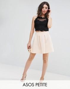 Фактурная мини-юбка со складками ASOS PETITE - Розовый
