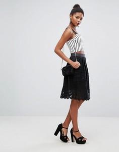 Кружевная расклешенная юбка миди New Look - Черный
