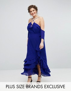 Элегантное платье макси с оборками Truly You - Синий