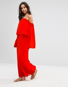 Платье макси с рукавами-кимоно и открытыми плечами Boohoo - Красный
