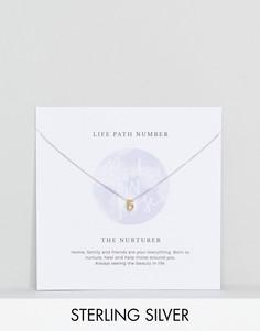 Серебряное ожерелье с подвеской в форме цифры 6 Rock N Rose - Золотой
