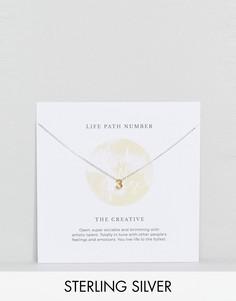 Серебряное ожерелье с подвеской в виде цифры 3 Rock N Rose - Золотой