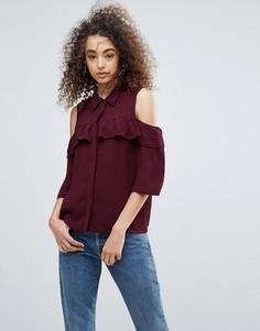 Рубашка с открытыми плечами и оборками Gestuz Genine - Красный