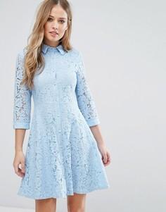 Короткое приталенное кружевное платье-рубашка City Goddess - Синий