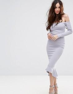 Платье миди с широким вырезом и годе Missguided - Синий
