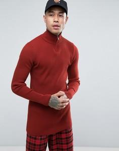 Красный удлиненный джемпер в рубчик с молнией до груди ASOS - Красный