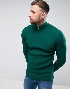 Зеленый удлиненный джемпер в рубчик с молнией до груди ASOS - Зеленый