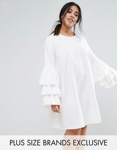 Цельнокройное платье с ярусными рукавами Unique 21 Hero - Белый