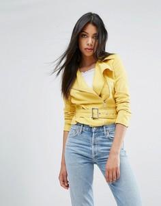 Байкерская куртка из искусственной замши Boohoo - Желтый