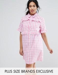 Платье-рубашка в клеточку с оборками Unique 21 Hero - Розовый