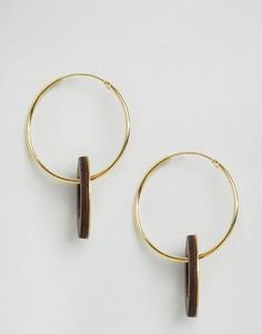 Cеребряные серьги-кольца с подвесками в виде дисков Wolf and Moon - Золотой
