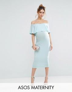 Платье-футляр миди с открытыми плечами и оборкой ASOS Maternity - Зеленый