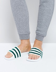 Бело-зеленые шлепанцы adidas Originals Adilette - Белый