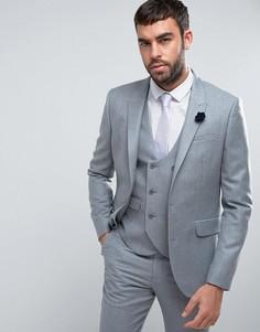 Узкий пиджак из 100% мериносовой шерсти ASOS WEDDING - Серый