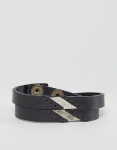 Двойной кожаный браслет черного цвета Diesel - Черный