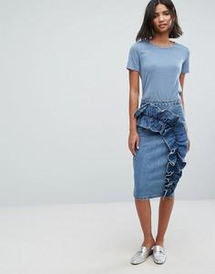 Джинсовая юбка-карандаш с крупной оборкой Lost Ink - Синий