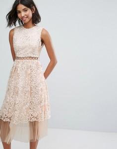 Платье миди с вышивкой Lost Ink - Бежевый