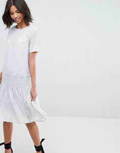 Свободное платье с присборенной отделкой Lost Ink - Серый