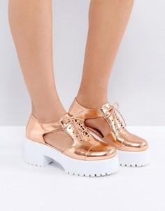 Туфли на толстой подошве с вырезами ASOS OAKE - Бежевый