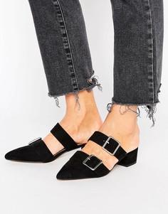 Остроносые туфли-сабо на низком каблуке ASOS SIESTA - Черный