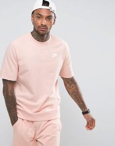 Розовый свитшот с круглым вырезом и коротким рукавом Nike 933571-876 - Розовый