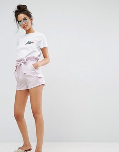 Шорты в винтажном стиле с присборенным поясом ASOS - Розовый