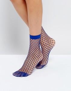 Синие носки в крупную сетку ASOS - Синий
