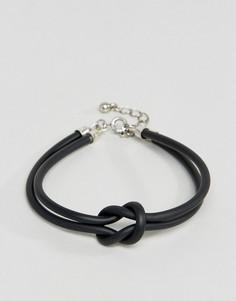 Прорезиненный браслет с узлом ASOS - Черный