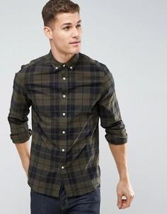 Узкая поплиновая рубашка цвета хаки ASOS - Зеленый