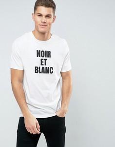 Удлиненная футболка с принтом Noir Et Blanc ASOS - Белый