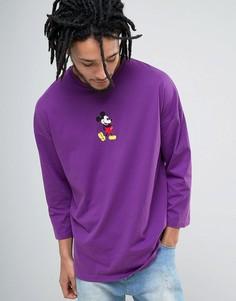 Свободная футболка с рукавами 3/4 и Микки Маусом ASOS - Фиолетовый