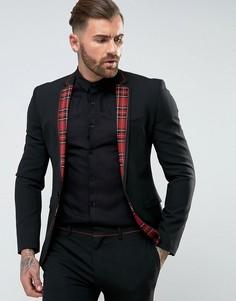 Черный супероблегающий пиджак в шотландскую клетку ASOS - Черный