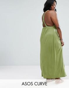 Трикотажное пляжное платье макси с перекрестами на спине ASOS CURVE - Зеленый